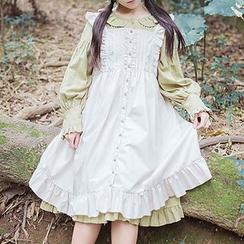 Rega - 長袖荷葉邊A字連衣裙 / 荷葉背帶裙
