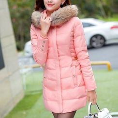 Cobogarden - Faux Fur Trim Hooded Padded Coat