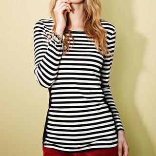Moonbasa - Long-Sleeve Lace-Trim Striped T-Shirt