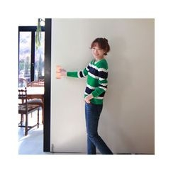 LEELIN - Striped Pointelle-Knit Top