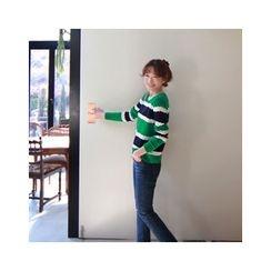 LEELIN - Striped Pointelle-Knit Top