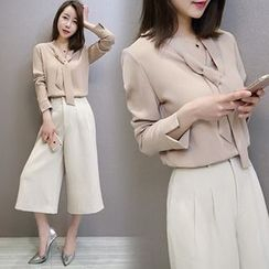 Lavogo - Set: Long-Sleeve Blouse + Cropped Wide Leg Pants