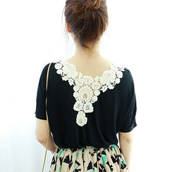 Dodostyle - Short-Sleeve Crochet-Trimmed Back Top