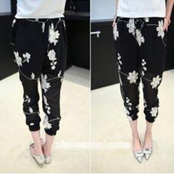 VIZZI - Floral Chiffon Pants