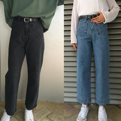 Dute - Pocketed Wide Leg Jeans