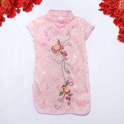 SEE SAW - Cap-Sleeve Embroidery Cheongsam