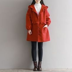 Clover Dream - Frill Trim Hooded Long Coat