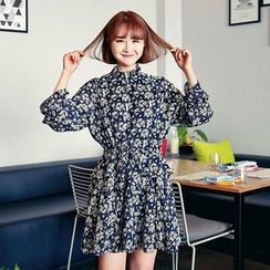 HOTPING - Frilled-Collar Floral Print Dress