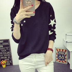 Carabecca - Fleece Star Applique Long-Sleeve Pullover