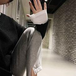 DISCOSALON - Drawstring-Waist Slit-Side Pants