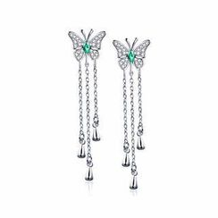 BELEC - 925 Sterling Silver Butterfly Earrings with Green Swarovski Element Crystal
