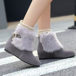 Shoes Galore - Furry Panel Hidden Wedge Short Boots