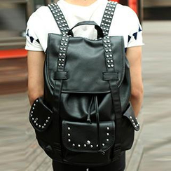 Yiku - Studded Faux Leather Backpack
