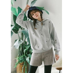 GOROKE - Hooded Flower Pattern Brushed-Fleece Lined Pullover