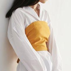 HORG - 純色拉鏈文胸上衣