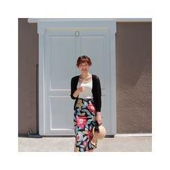 LEELIN - Floral Pattern Linen Blend Midi Skirt
