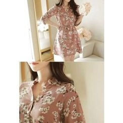 MyFiona - Drawstring-Waist Floral Pattern Shirtdress
