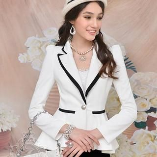 Dabuwawa - Contrast-Trim Peplum Single-Button Blazer