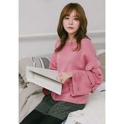GOROKE - Frill-Trim Wide-Sleeve Knit Top