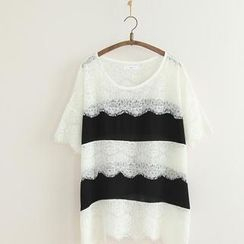 11.STREET - Short-Sleeve Chiffon Panel Lace Top