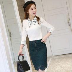 Mandalle - Set: Contrast Trim Tie Neck 3/4 Sleeve Top + Front Zip Lace Skirt