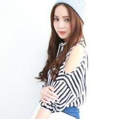 rico - Cutaway-Sleeve Striped Chiffon Shirt
