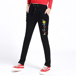 Lina - Fleece-Lined Smiley Face Pants