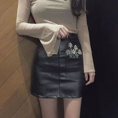 Chililala - Faux Leather A-Line Skirt