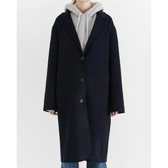 Someday, if - Single-Breasted Wool Blend Handmade Long Coat