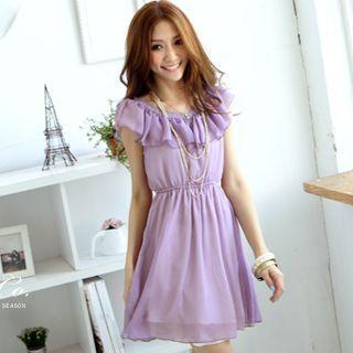 Tokyo Fashion - Lace-Trim Cape-Collar Chiffon Dress