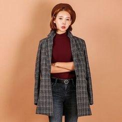 Seoul Fashion - Single-Breasted Plaid Jacket