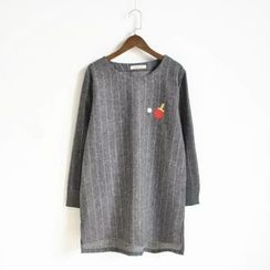 Nycto - Table Tennis Print Striped Long Pullover