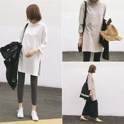 YOSH - Plain 3/4-Sleeve T-shirt Dress