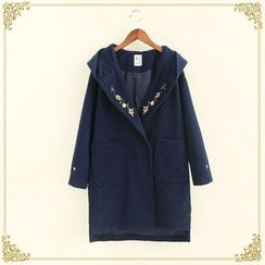 Fairyland - Flower Embroidered Hooded Long Woolen Jacket