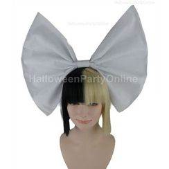 Party Wigs - Party Wig -  Sia Black & Blonde Wig Small White Bow