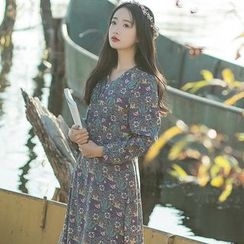 sansweet - Long-Sleeve Patterned A-line Maxi Dress