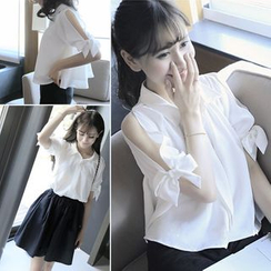 Bloombloom - Set: Elbow-Sleeve Shoulder Cut Out Blouse + Ruffle Skirt