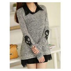Rocho - Set: Skull Accent Knit Top + Chiffon Shirt