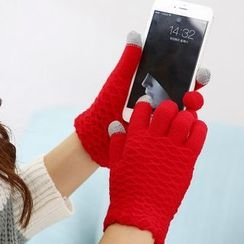 Seoul Young - Contrast-Trim Knit Gloves