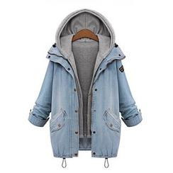 彩君 - 套裝: 牛仔夾克 + 連帽馬甲
