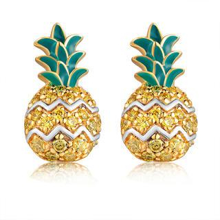 MBLife.com - Left Right Accessory - 925 Sterling Silver CZ Pineapple Fruit Stud Earrings, Women Girl Fashion Jewelry