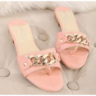X Times - Chain-Accent Thong Sandals