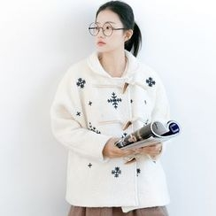 Forest Girl - Snowflake Embroidered Toggle Jacket