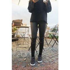CHERRYKOKO - Coated Brushed-Fleece Lined Skinny Pants