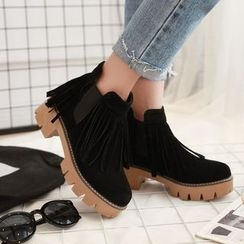 Pastel Pairs - Fringed Chunky Heel Ankle Boots