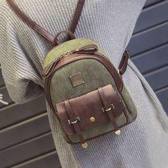 優尚良品 - 仿皮拼接背包