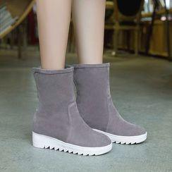 Pastel Pairs - Platform Hidden Wedge Ankle Boots