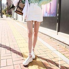 DABAGIRL - Zip-Front Distressed Hem Mini Skirt