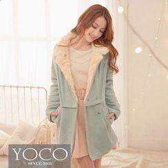 Tokyo Fashion - Faux-Fur-Collar Snap-Button Coat