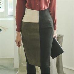 ode' - High-Waist Color-Block Pencil Skirt